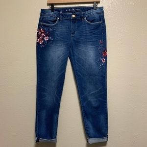 WHBM floral embroidered girlfriend denim jeans